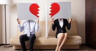 Divorce - Sad young couple holding billboard sign with break love heart concept for divorce